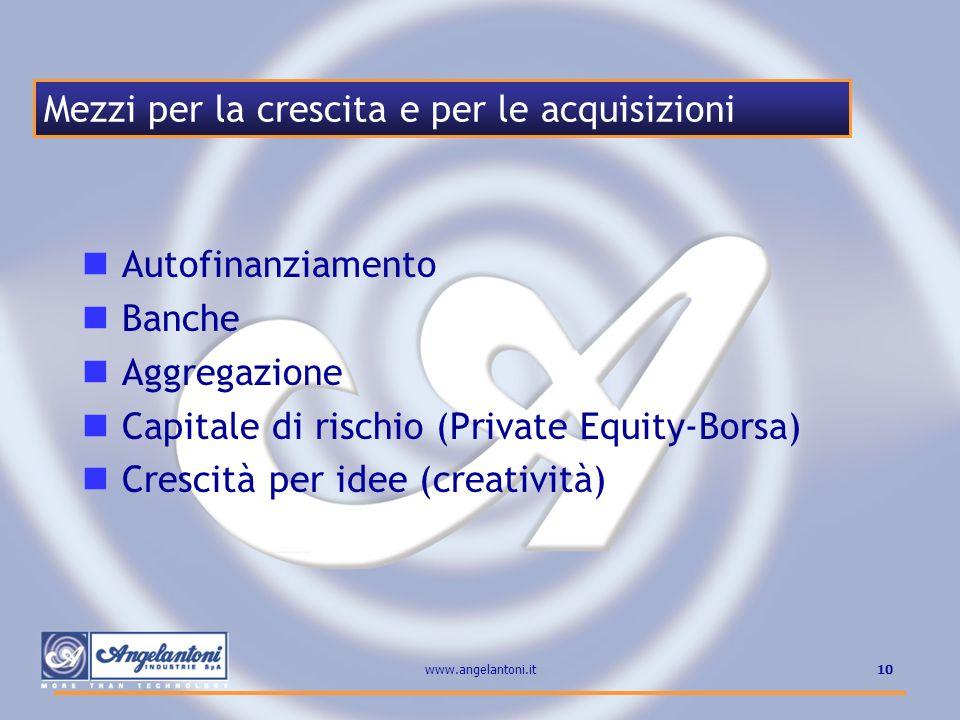 10www.angelantoni.it Autofinanziamento Banche Aggregazione Capitale di rischio (Private Equity-Borsa) Crescità per idee (creatività) Mezzi per la cres