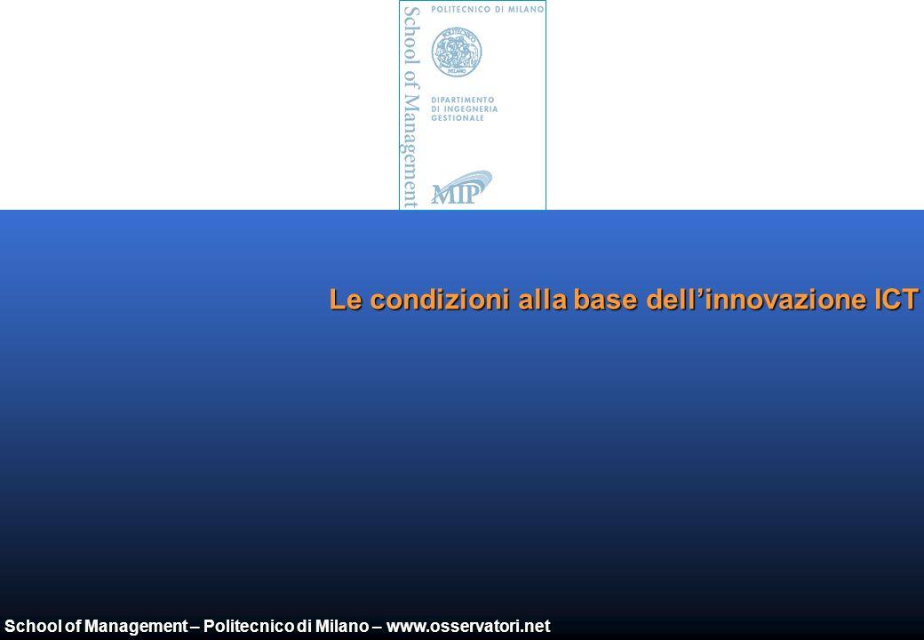 School of Management – Politecnico di Milano – www.osservatori.net Il mercato ICT in base ai diversi segmenti di impresa (2004) Grandi imprese (>250) Medie imprese (50-249) Piccole imprese (1-49) Consumer Fonte: Assinform / NetConsulting