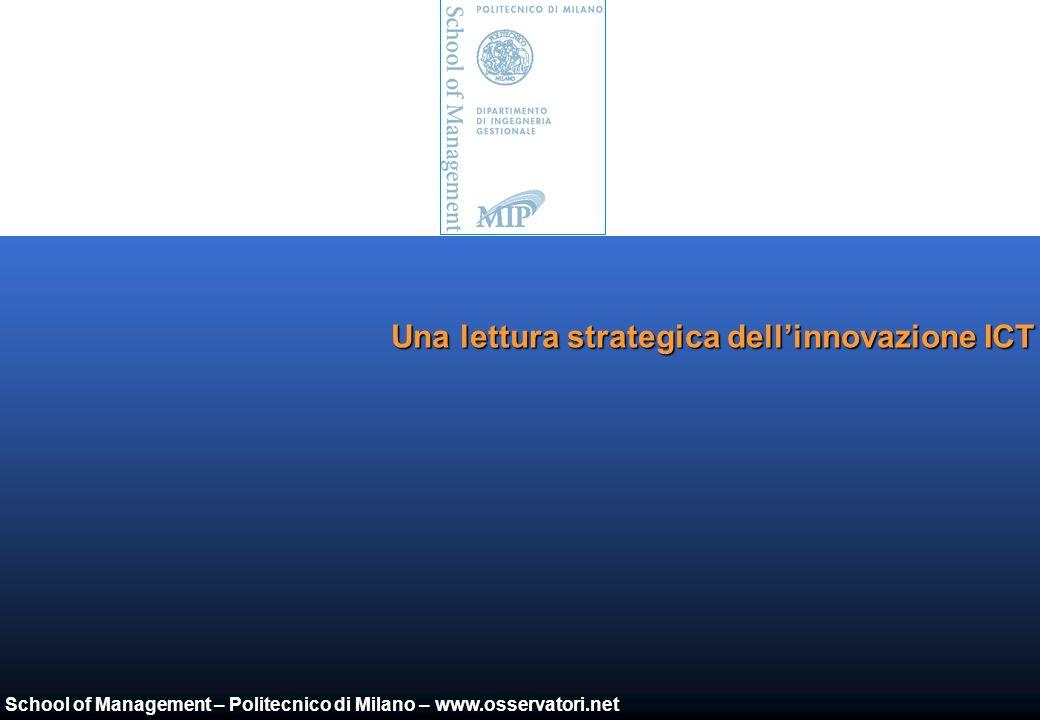 School of Management – Politecnico di Milano – www.osservatori.net La correlazione con i livelli di spesa ICT Maturità tecnologica Spesta ICT/Fatturato Impostate Miopi o statiche Immature Lungimiranti