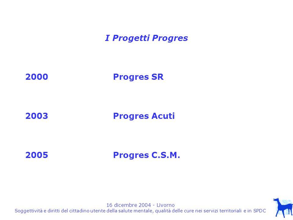 16 dicembre 2004 - Livorno Soggettività e diritti del cittadino utente della salute mentale, qualità delle cure nei servizi territoriali e in SPDC I Progetti Progres 2000Progres SR 2003Progres Acuti 2005Progres C.S.M.