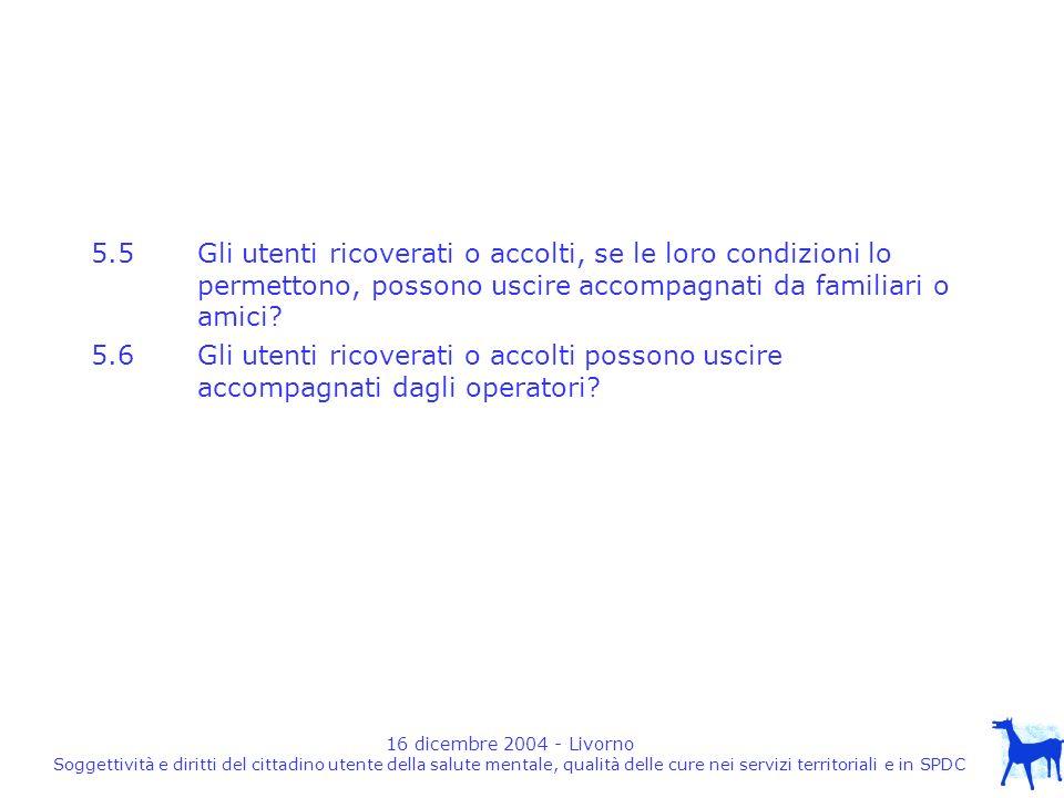 16 dicembre 2004 - Livorno Soggettività e diritti del cittadino utente della salute mentale, qualità delle cure nei servizi territoriali e in SPDC 5.5 Gli utenti ricoverati o accolti, se le loro condizioni lo permettono, possono uscire accompagnati da familiari o amici.