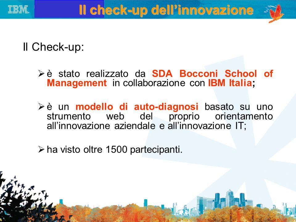 Il check-up dellinnovazione Il Check-up: è stato realizzato da SDA Bocconi School of Management in collaborazione con IBM Italia; è un modello di auto