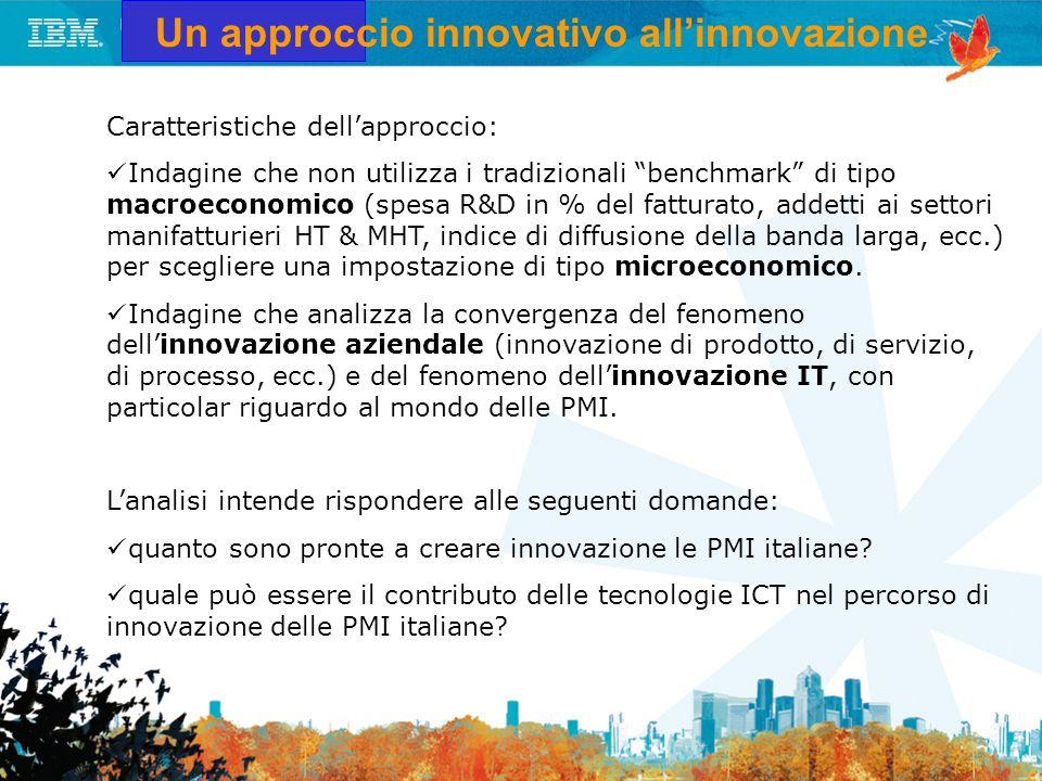 Un approccio innovativo allinnovazione Caratteristiche dellapproccio: Indagine che non utilizza i tradizionali benchmark di tipo macroeconomico (spesa