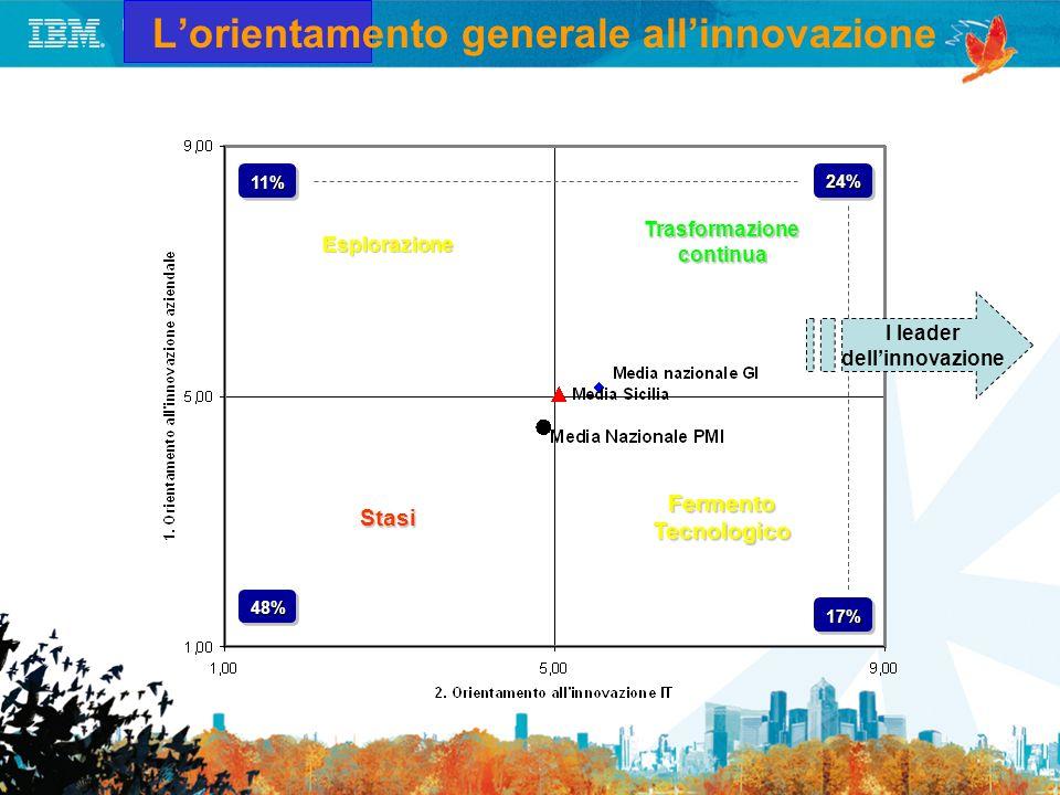 Lorientamento generale allinnovazione Trasformazione continua Fermento Tecnologico Stasi Esplorazione 11%11%24%24% 48%48% 17%17% I leader dellinnovazi