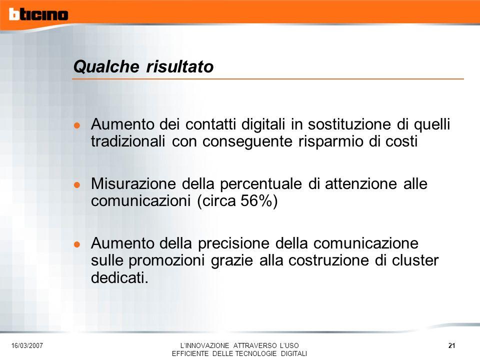 16/03/2007 LINNOVAZIONE ATTRAVERSO LUSO EFFICIENTE DELLE TECNOLOGIE DIGITALI 21 Qualche risultato l Aumento dei contatti digitali in sostituzione di q