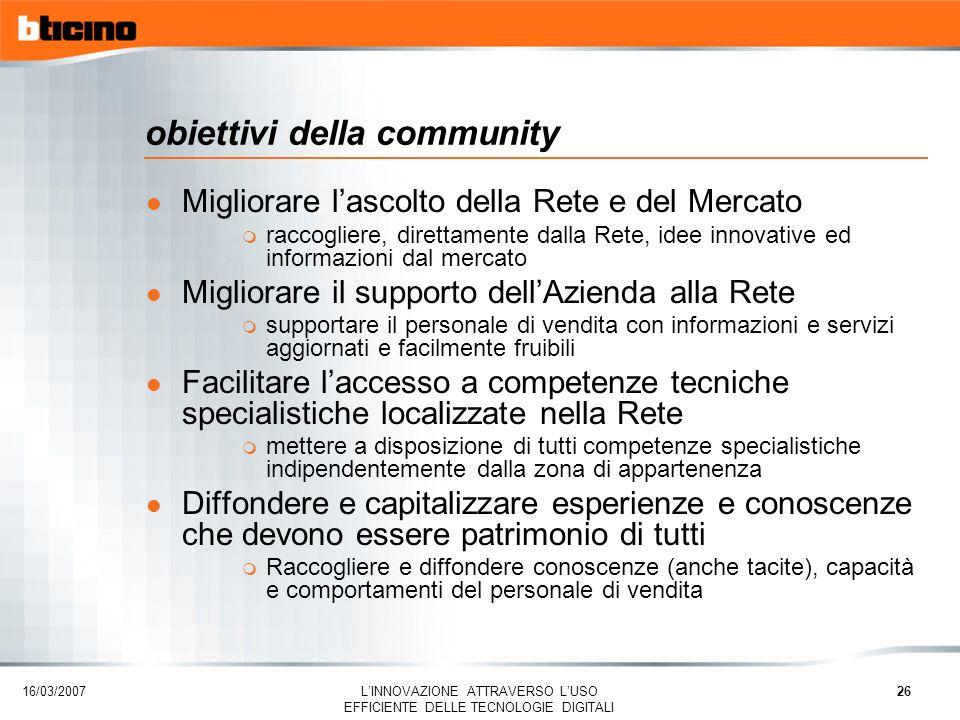 16/03/2007 LINNOVAZIONE ATTRAVERSO LUSO EFFICIENTE DELLE TECNOLOGIE DIGITALI 26 obiettivi della community l Migliorare lascolto della Rete e del Merca