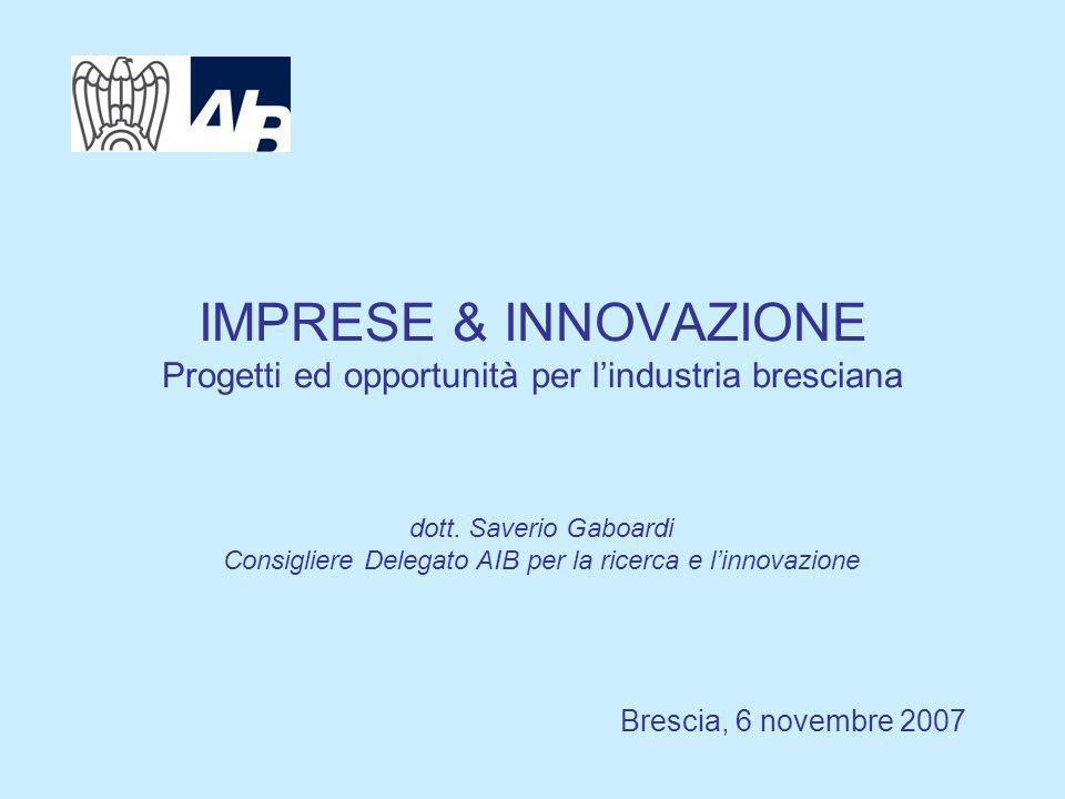 IMPRESE & INNOVAZIONE Progetti ed opportunità per lindustria bresciana Brescia, 6 novembre 2007 dott.