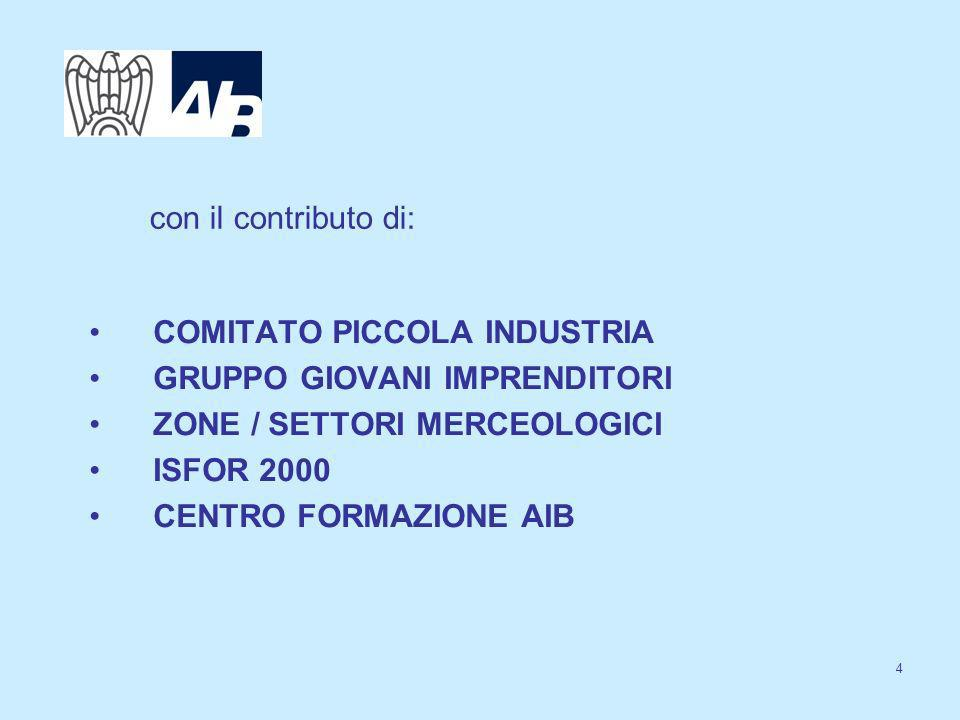 4 con il contributo di: COMITATO PICCOLA INDUSTRIA GRUPPO GIOVANI IMPRENDITORI ZONE / SETTORI MERCEOLOGICI ISFOR 2000 CENTRO FORMAZIONE AIB