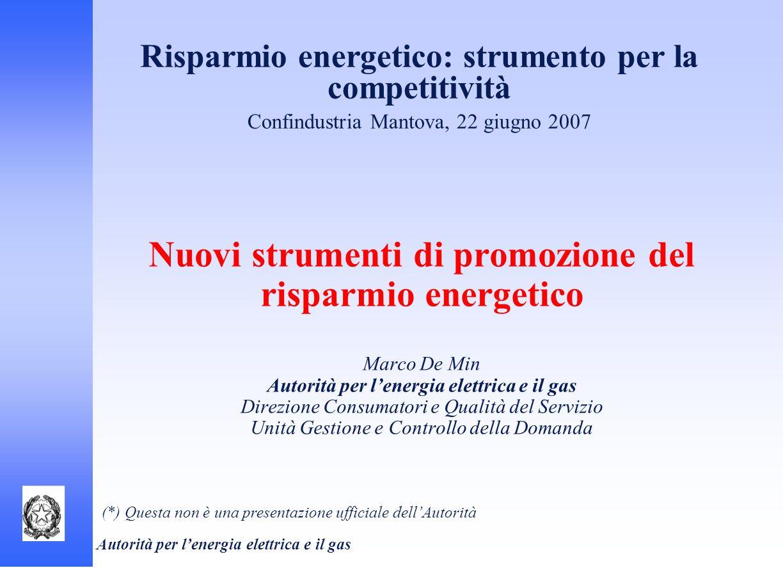 Autorità per lenergia elettrica e il gas Risparmio energetico: strumento per la competitività Confindustria Mantova, 22 giugno 2007 Nuovi strumenti di