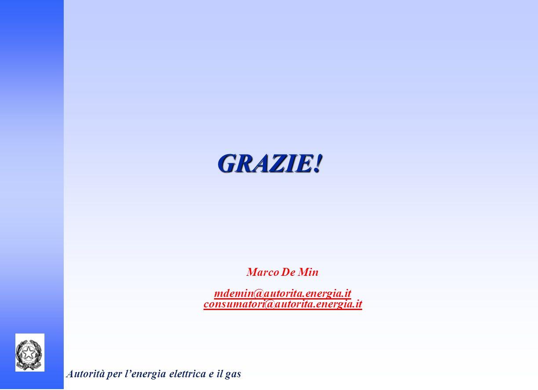 Autorità per lenergia elettrica e il gas GRAZIE! Marco De Min mdemin@autorita.energia.it consumatori@autorita.energia.it