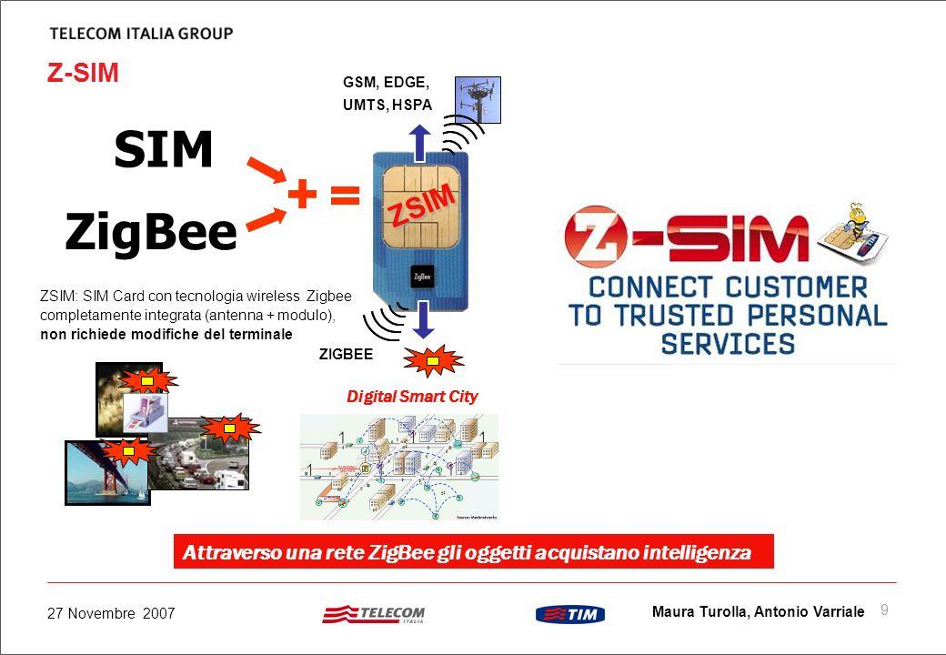 8 Maura Turolla, Antonio Varriale 27 Novembre 2007 Tecnologia ZigBee ZigBee e una tecnologia standard (ZigBee Alliance) per connettività wireless medi