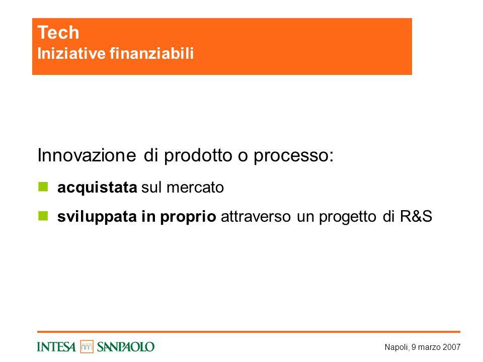 Napoli, 9 marzo 2007 Innovazione di prodotto o processo: acquistata sul mercato sviluppata in proprio attraverso un progetto di R&S Tech Iniziative finanziabili