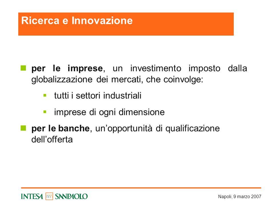 Napoli, 9 marzo 2007 per le imprese, un investimento imposto dalla globalizzazione dei mercati, che coinvolge: tutti i settori industriali imprese di ogni dimensione per le banche, unopportunità di qualificazione dellofferta Ricerca e Innovazione