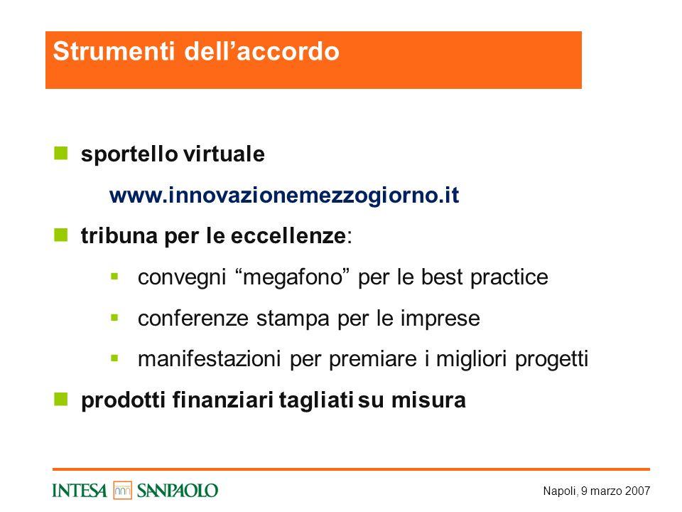 Napoli, 9 marzo 2007 sportello virtuale www.innovazionemezzogiorno.it tribuna per le eccellenze: convegni megafono per le best practice conferenze sta