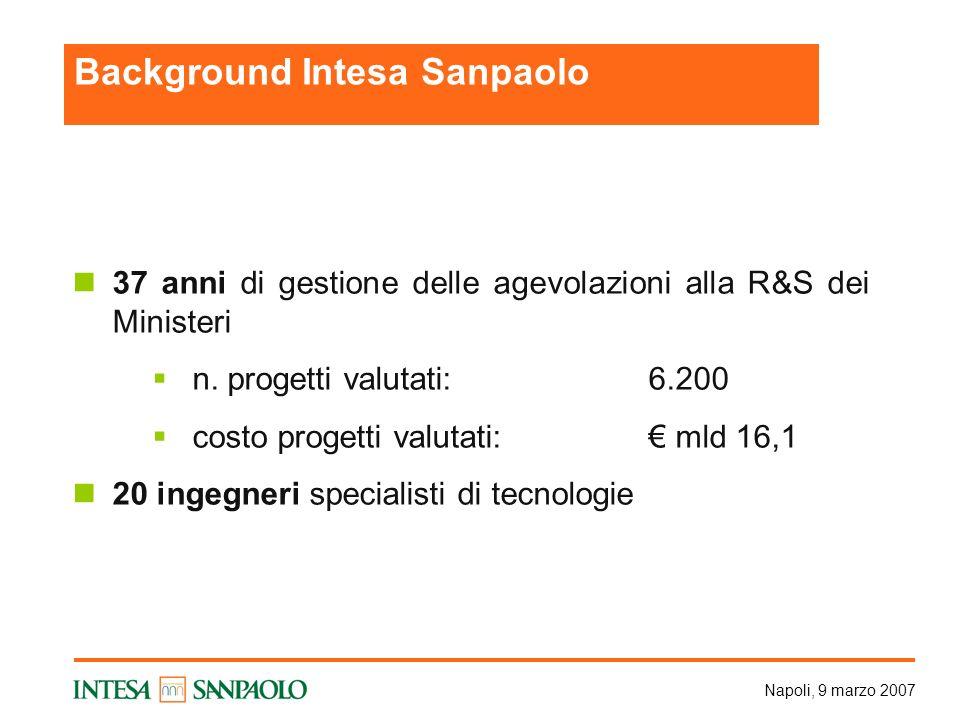 Napoli, 9 marzo 2007 37 anni di gestione delle agevolazioni alla R&S dei Ministeri n. progetti valutati:6.200 costo progetti valutati: mld 16,1 20 ing
