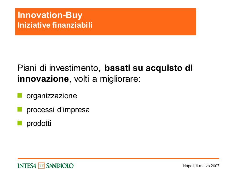 Napoli, 9 marzo 2007 organizzazione processi dimpresa prodotti Innovation-Buy Iniziative finanziabili Piani di investimento, basati su acquisto di innovazione, volti a migliorare: