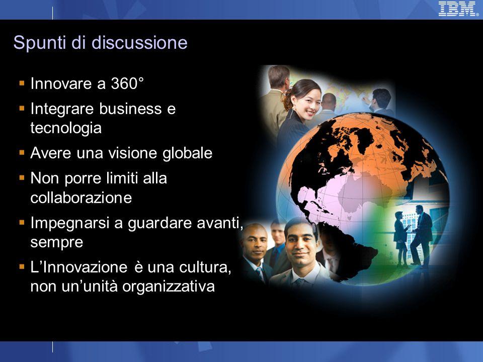 Innovare a 360° Integrare business e tecnologia Avere una visione globale Non porre limiti alla collaborazione Impegnarsi a guardare avanti, sempre LInnovazione è una cultura, non ununità organizzativa Spunti di discussione