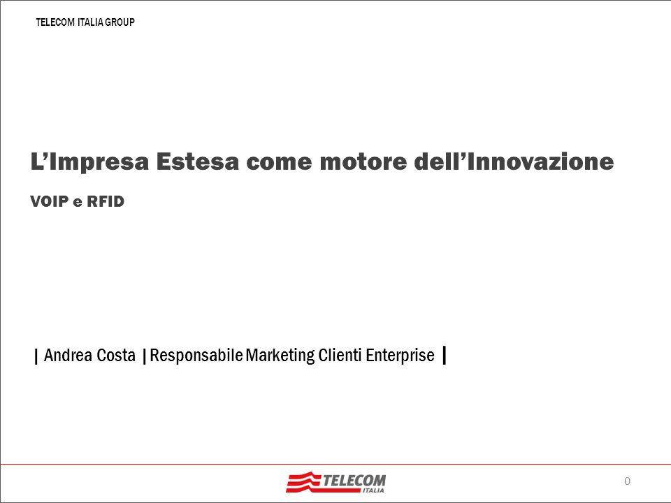 0 TELECOM ITALIA GROUP   Andrea Costa  Responsabile Marketing Clienti Enterprise   LImpresa Estesa come motore dellInnovazione VOIP e RFID