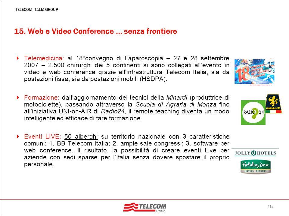 14 TELECOM ITALIA GROUP Giugno 2007, Gartner Consulting: Entro il 2015, l80% circa del lavoro in team avverrà a distanza, attraverso un sistema di vid