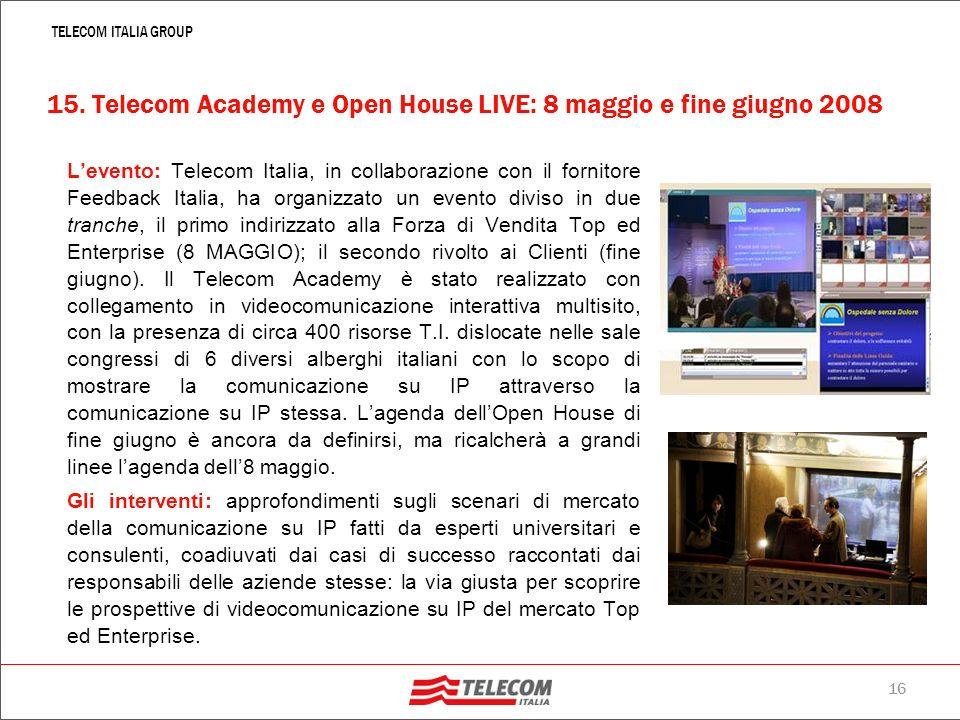 15 TELECOM ITALIA GROUP Telemedicina: al 18°convegno di Laparoscopia – 27 e 28 settembre 2007 – 2.500 chirurghi dei 5 continenti si sono collegati all