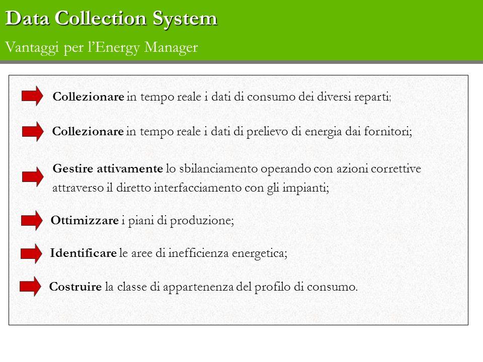 Data Collection System Data Collection System Vantaggi per lEnergy Manager Collezionare in tempo reale i dati di consumo dei diversi reparti ; Gestire