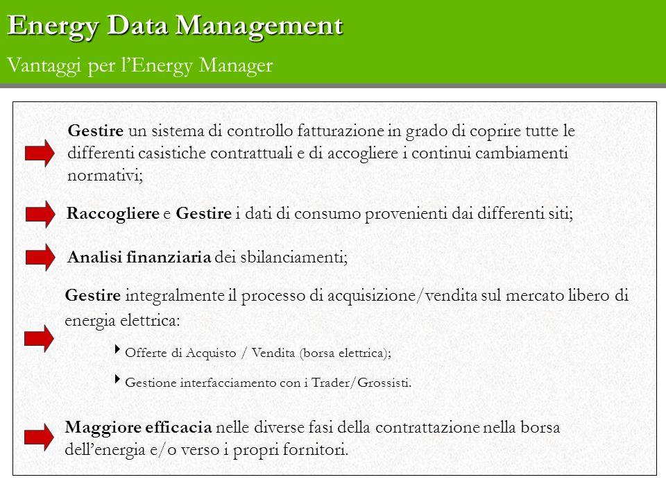 Energy Data Management Energy Data Management Vantaggi per lEnergy Manager Gestire un sistema di controllo fatturazione in grado di coprire tutte le d