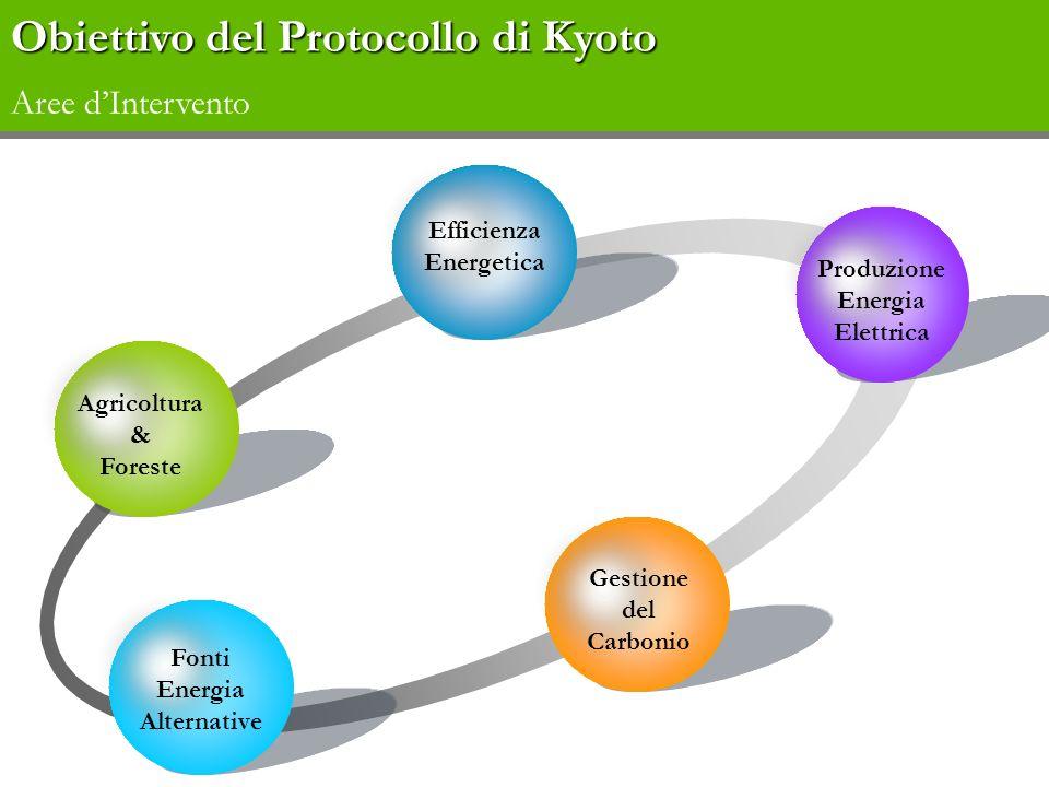 Agricoltura & Foreste Efficienza Energetica Produzione Energia Elettrica Gestione del Carbonio Fonti Energia Alternative Obiettivo del Protocollo di K