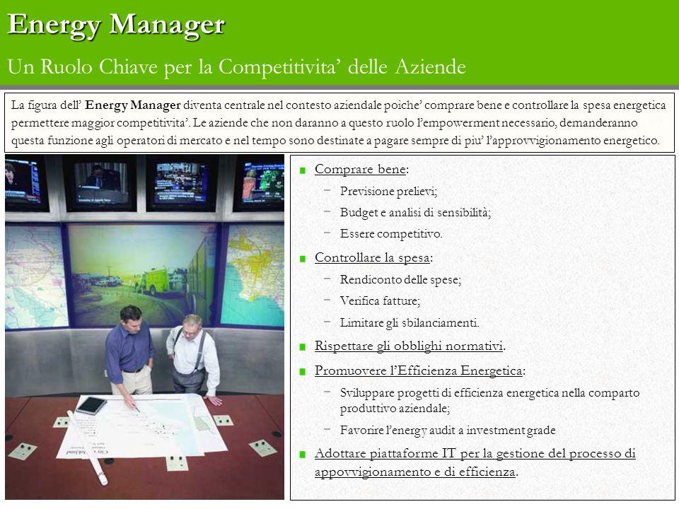 Energy Manager Energy Manager Un Ruolo Chiave per la Competitivita delle Aziende Comprare bene: Previsione prelievi; Budget e analisi di sensibilità;