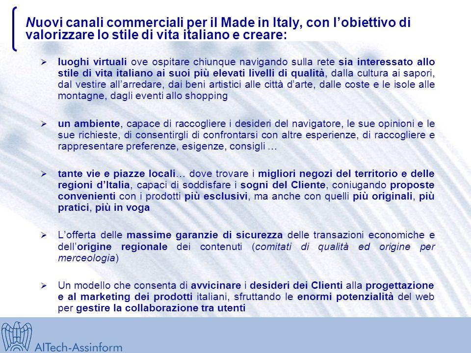 Nuovi canali commerciali per il Made in Italy Il presente documento indica alcune linee di azione sul commercio elettronico per il Sistema delle Regio