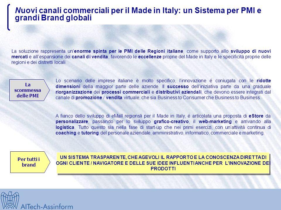 Nuovi canali commerciali per il Made in Italy: un Sistema per PMI e grandi Brand globali La scommessa delle PMI La soluzione rappresenta unenorme spinta per le PMI delle Regioni italiane, come supporto allo sviluppo di nuovi mercati e allespansione dei canali di vendita, favorendo le eccellenze proprie del Made in Italy e le specificità proprie delle regioni e dei distretti locali Lo scenario delle imprese italiane è molto specifico, linnovazione é coniugata con le ridotte dimensioni della maggior parte delle aziende.