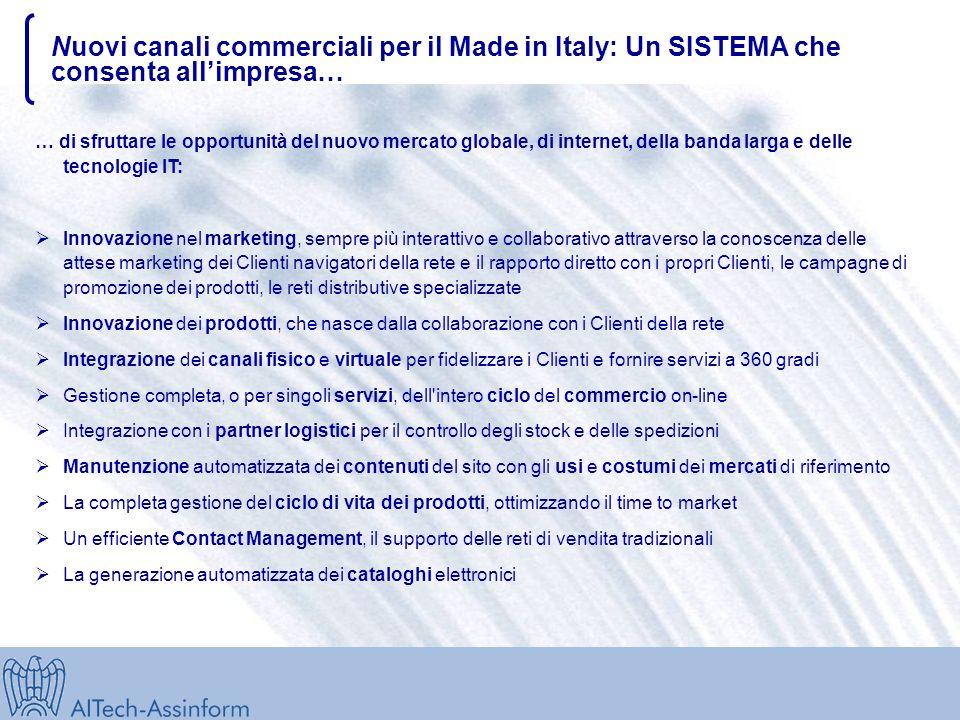 Nuovi canali commerciali per il Made in Italy: Un SISTEMA che consenta allimpresa… … di sfruttare le opportunità del nuovo mercato globale, di internet, della banda larga e delle tecnologie IT: Innovazione nel marketing, sempre più interattivo e collaborativo attraverso la conoscenza delle attese marketing dei Clienti navigatori della rete e il rapporto diretto con i propri Clienti, le campagne di promozione dei prodotti, le reti distributive specializzate Innovazione dei prodotti, che nasce dalla collaborazione con i Clienti della rete Integrazione dei canali fisico e virtuale per fidelizzare i Clienti e fornire servizi a 360 gradi Gestione completa, o per singoli servizi, dell intero ciclo del commercio on-line Integrazione con i partner logistici per il controllo degli stock e delle spedizioni Manutenzione automatizzata dei contenuti del sito con gli usi e costumi dei mercati di riferimento La completa gestione del ciclo di vita dei prodotti, ottimizzando il time to market Un efficiente Contact Management, il supporto delle reti di vendita tradizionali La generazione automatizzata dei cataloghi elettronici