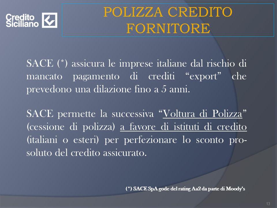 POLIZZA CREDITO FORNITORE SACE (*) assicura le imprese italiane dal rischio di mancato pagamento di crediti export che prevedono una dilazione fino a 5 anni.