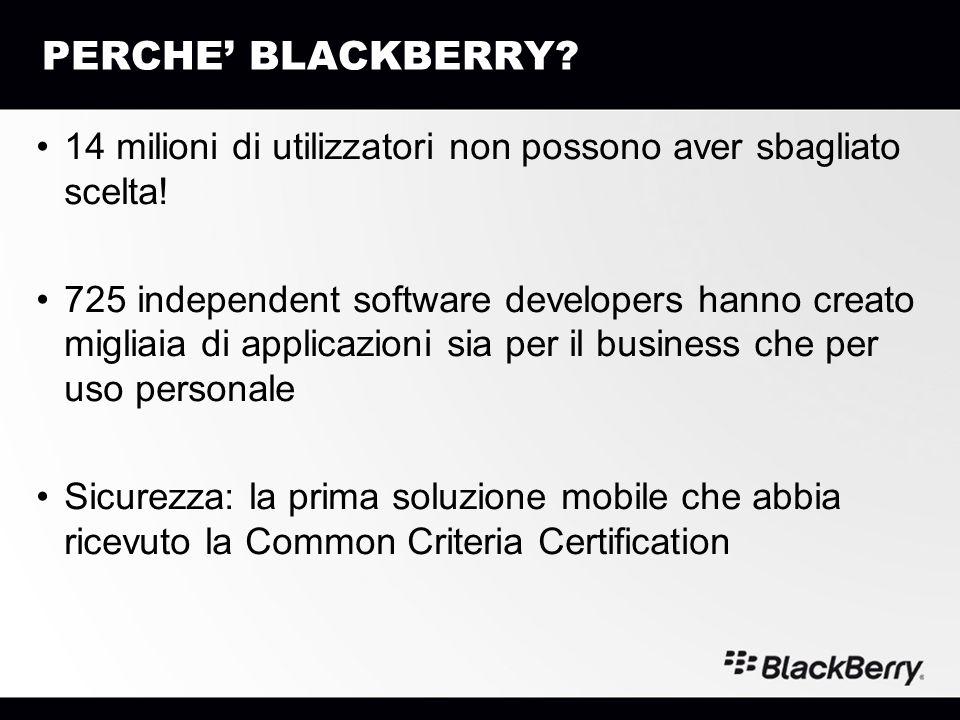 PERCHE BLACKBERRY? 14 milioni di utilizzatori non possono aver sbagliato scelta! 725 independent software developers hanno creato migliaia di applicaz