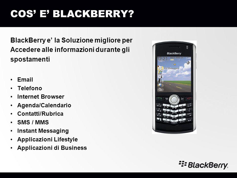 COS E BLACKBERRY? BlackBerry e la Soluzione migliore per Accedere alle informazioni durante gli spostamenti Email Telefono Internet Browser Agenda/Cal