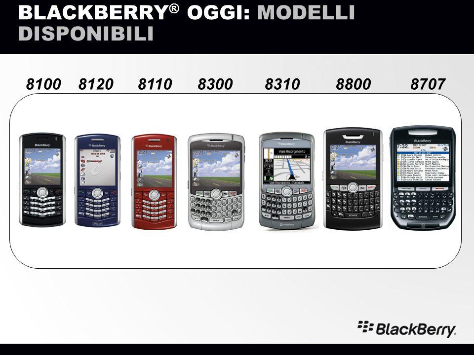 BLACKBERRY ® OGGI: MODELLI DISPONIBILI 8310810088008300812087078110