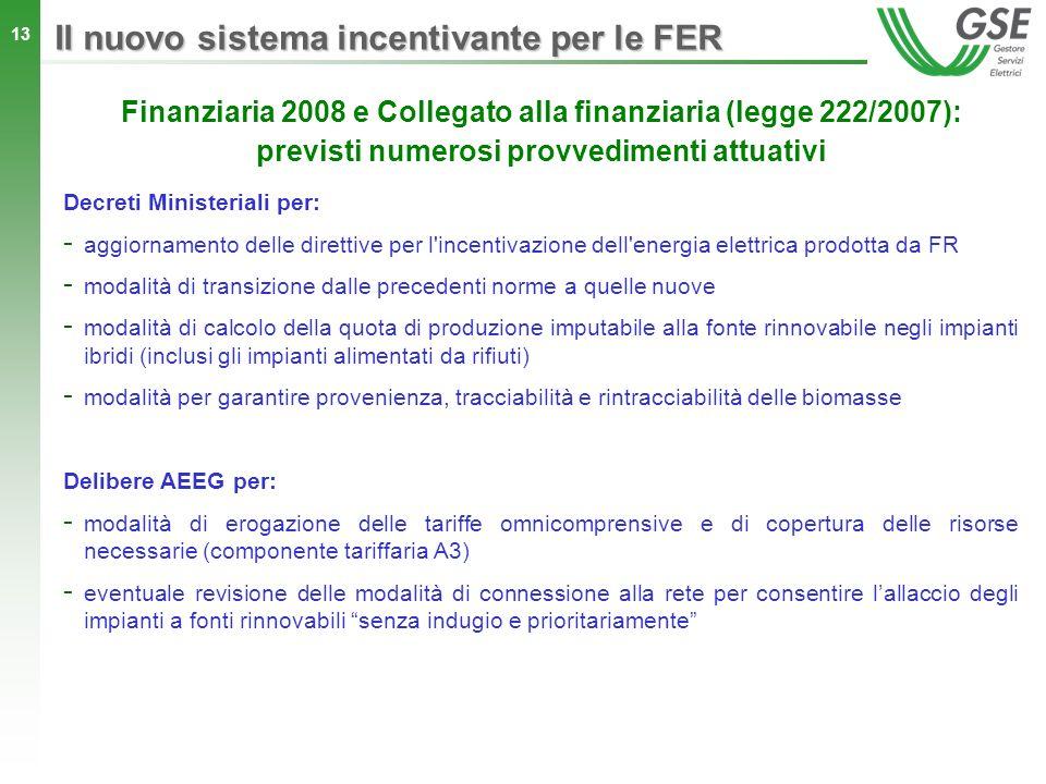 13 Il nuovo sistema incentivante per le FER Finanziaria 2008 e Collegato alla finanziaria (legge 222/2007): previsti numerosi provvedimenti attuativi