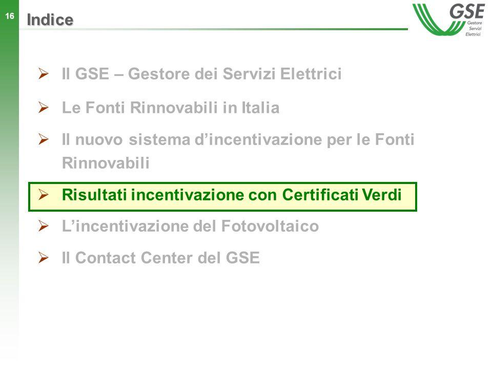 16 Indice Il GSE – Gestore dei Servizi Elettrici Le Fonti Rinnovabili in Italia Il nuovo sistema dincentivazione per le Fonti Rinnovabili Risultati in