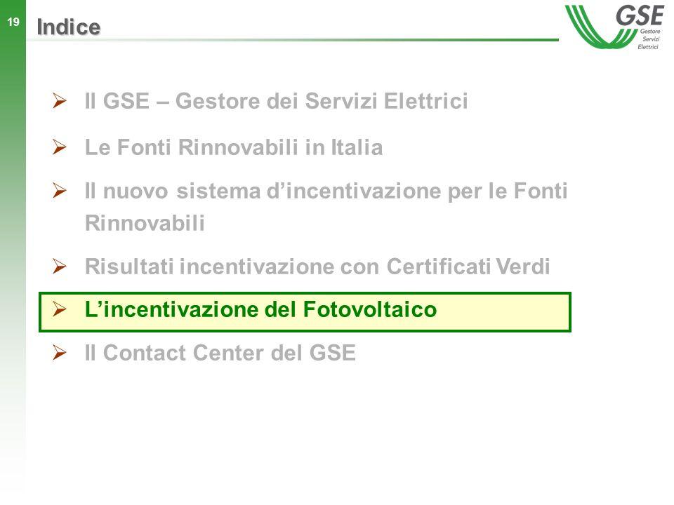 19 Indice Il GSE – Gestore dei Servizi Elettrici Le Fonti Rinnovabili in Italia Il nuovo sistema dincentivazione per le Fonti Rinnovabili Risultati in