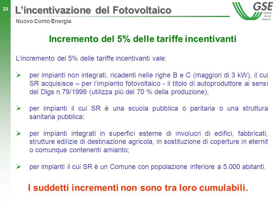 23 Incremento del 5% delle tariffe incentivanti Lincremento del 5% delle tariffe incentivanti vale: per impianti non integrati, ricadenti nelle righe