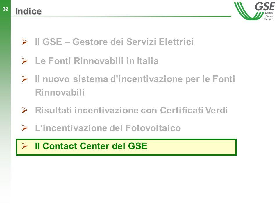 32 Indice Il GSE – Gestore dei Servizi Elettrici Le Fonti Rinnovabili in Italia Il nuovo sistema dincentivazione per le Fonti Rinnovabili Risultati in