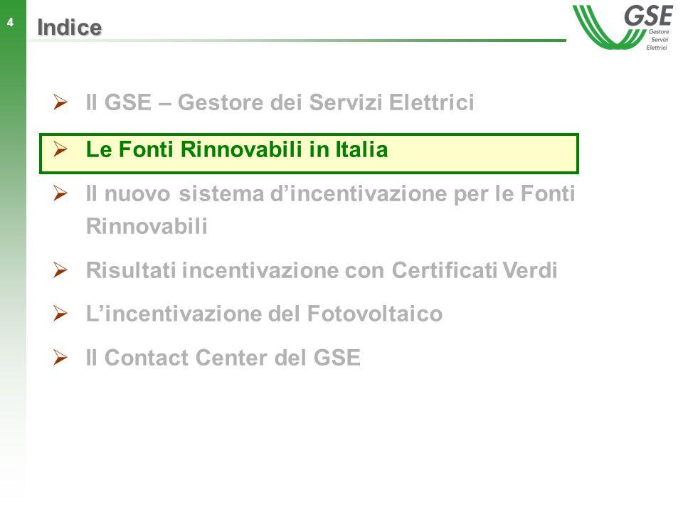 4 Indice Il GSE – Gestore dei Servizi Elettrici Le Fonti Rinnovabili in Italia Il nuovo sistema dincentivazione per le Fonti Rinnovabili Risultati inc