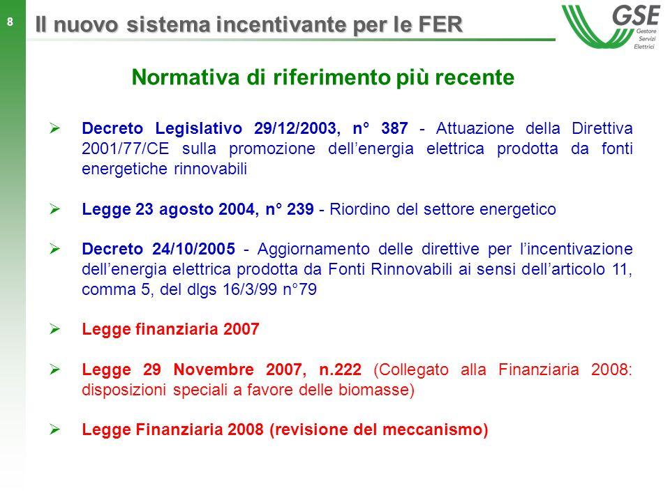 8 Decreto Legislativo 29/12/2003, n° 387 - Attuazione della Direttiva 2001/77/CE sulla promozione dellenergia elettrica prodotta da fonti energetiche