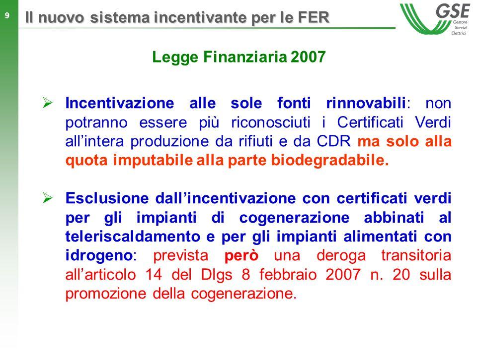 9 Incentivazione alle sole fonti rinnovabili: non potranno essere più riconosciuti i Certificati Verdi allintera produzione da rifiuti e da CDR ma sol