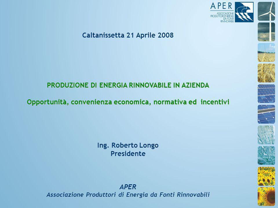 Caltanissetta 21 Aprile 2008 PRODUZIONE DI ENERGIA RINNOVABILE IN AZIENDA Opportunità, convenienza economica, normativa ed incentivi Ing.