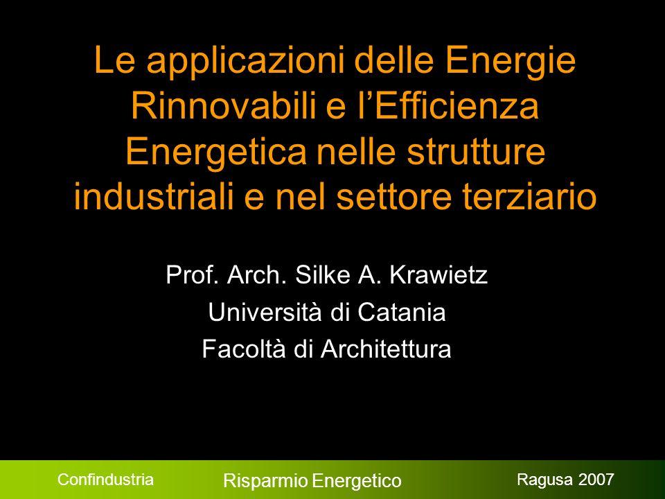 Confindustria Risparmio Energetico Ragusa 2007 Le applicazioni delle Energie Rinnovabili e lEfficienza Energetica nelle strutture industriali e nel settore terziario Prof.