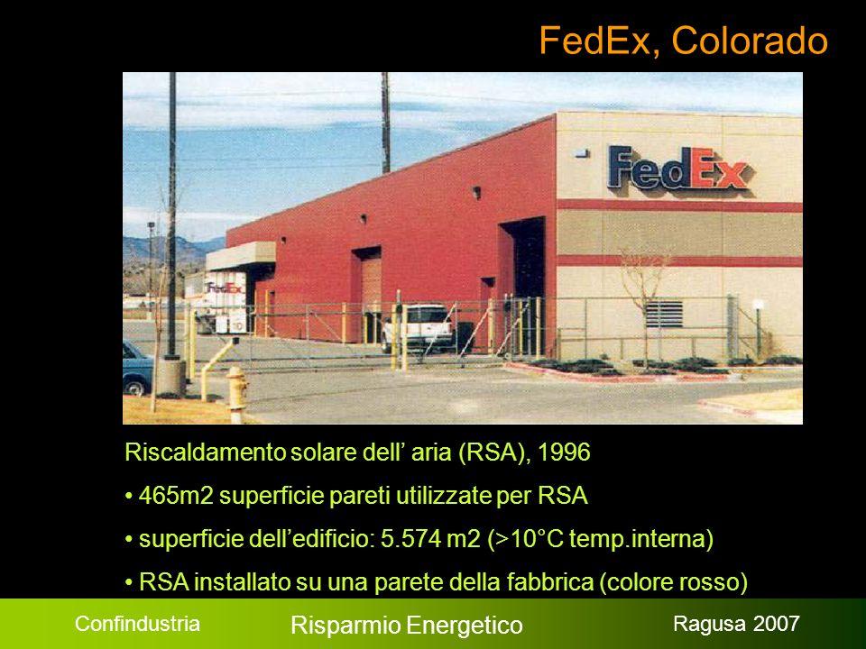 Confindustria Risparmio Energetico Ragusa 2007 FedEx, Colorado Riscaldamento solare dell aria (RSA), 1996 465m2 superficie pareti utilizzate per RSA superficie delledificio: 5.574 m2 (>10°C temp.interna) RSA installato su una parete della fabbrica (colore rosso)