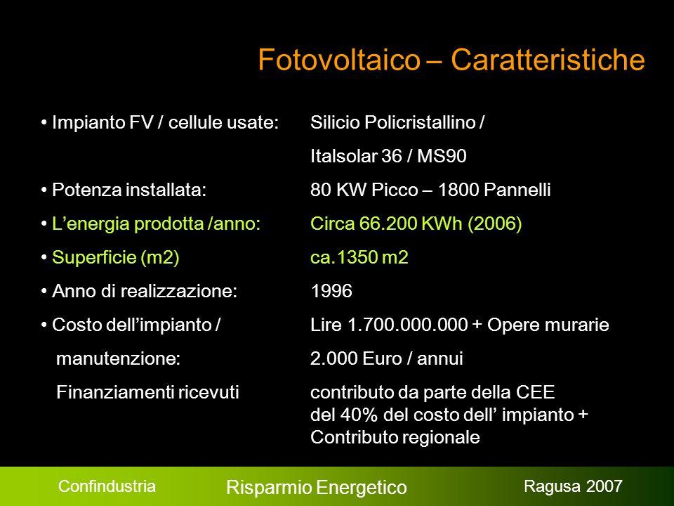 Confindustria Risparmio Energetico Ragusa 2007 Fotovoltaico – Caratteristiche Impianto FV / cellule usate: Silicio Policristallino / Italsolar 36 / MS90 Potenza installata: 80 KW Picco – 1800 Pannelli Lenergia prodotta /anno:Circa 66.200 KWh (2006) Superficie (m2) ca.1350 m2 Anno di realizzazione: 1996 Costo dellimpianto / Lire 1.700.000.000 + Opere murarie manutenzione:2.000 Euro / annui Finanziamenti ricevuticontributo da parte della CEE del 40% del costo dell impianto + Contributo regionale