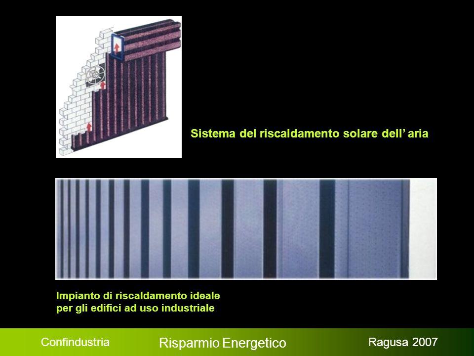 Confindustria Risparmio Energetico Ragusa 2007 Impianto di riscaldamento ideale per gli edifici ad uso industriale Sistema del riscaldamento solare dell aria