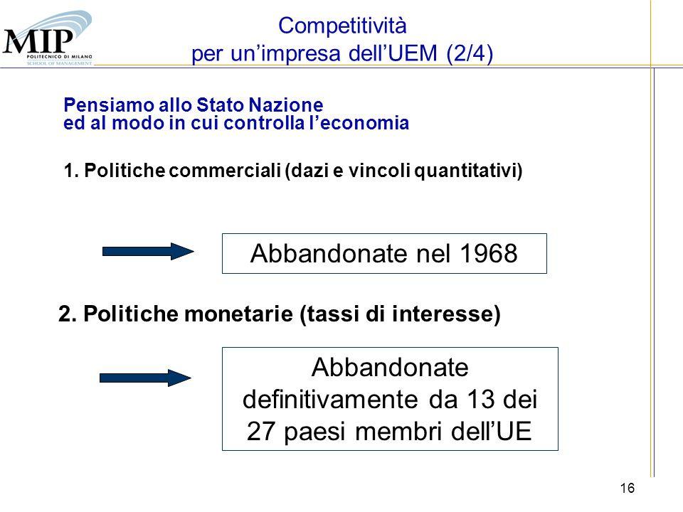 16 Pensiamo allo Stato Nazione ed al modo in cui controlla leconomia 1. Politiche commerciali (dazi e vincoli quantitativi) Abbandonate nel 1968 2. Po