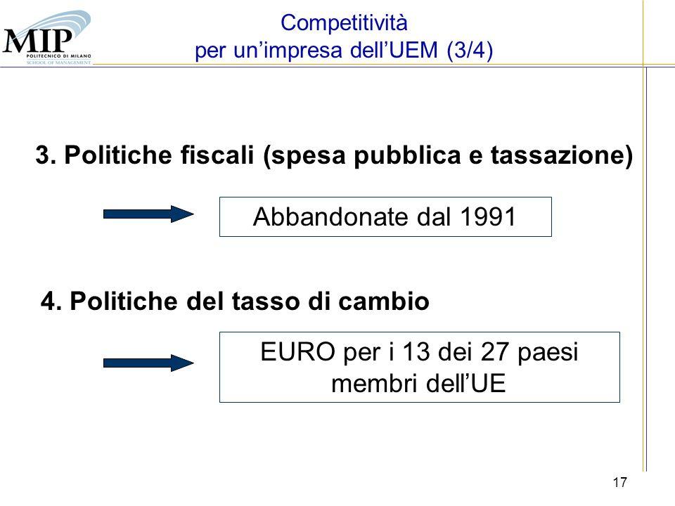 17 Abbandonate dal 1991 EURO per i 13 dei 27 paesi membri dellUE 4. Politiche del tasso di cambio 3. Politiche fiscali (spesa pubblica e tassazione) C